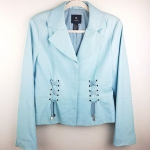DD COLLECTION Baby Blue Leather Button Up Jacket